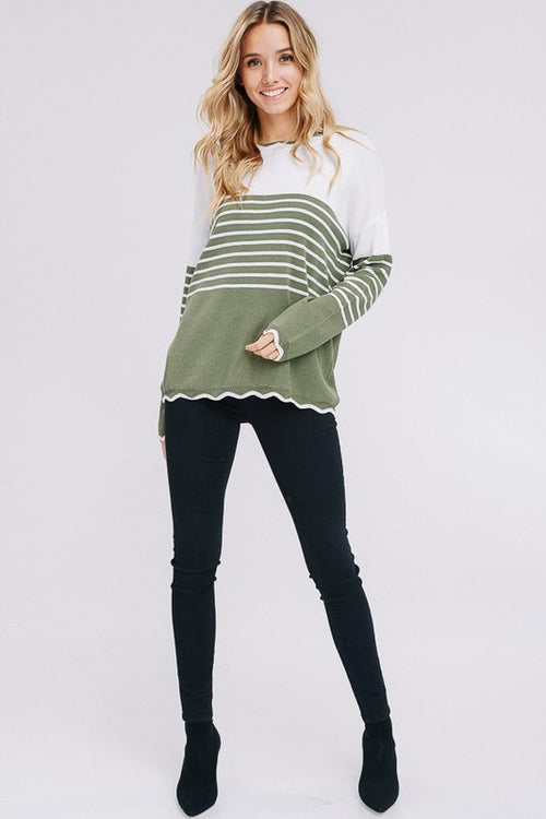 Aynara Fashion Stripe color block sweater