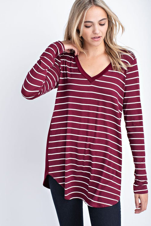 Aynara Fashion Solid Stripe Contrast Tunic Top