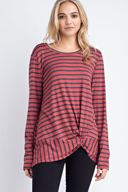 Aynara Fashion Bamboo Striped Front Knot Top