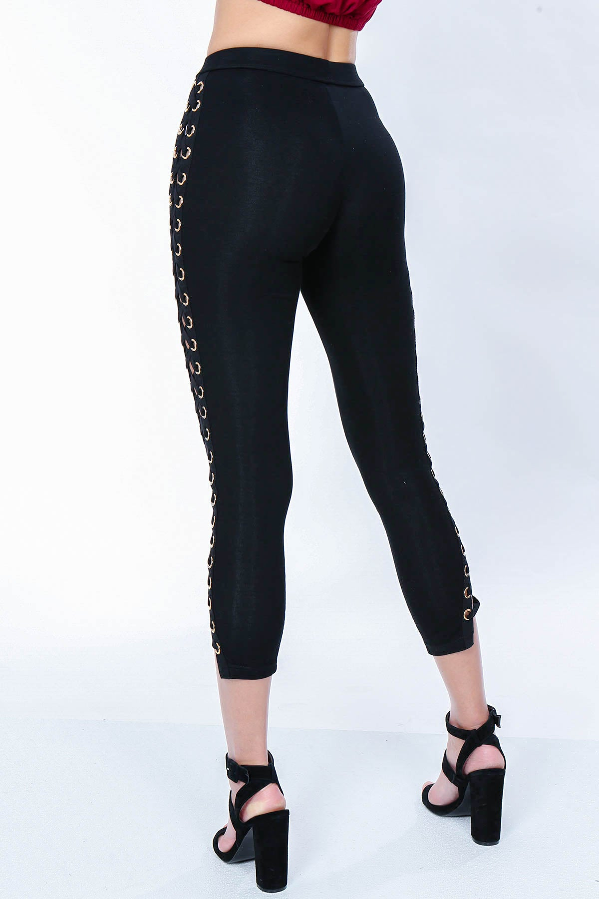 Aynara Fashion Side Eyelet Long Pants