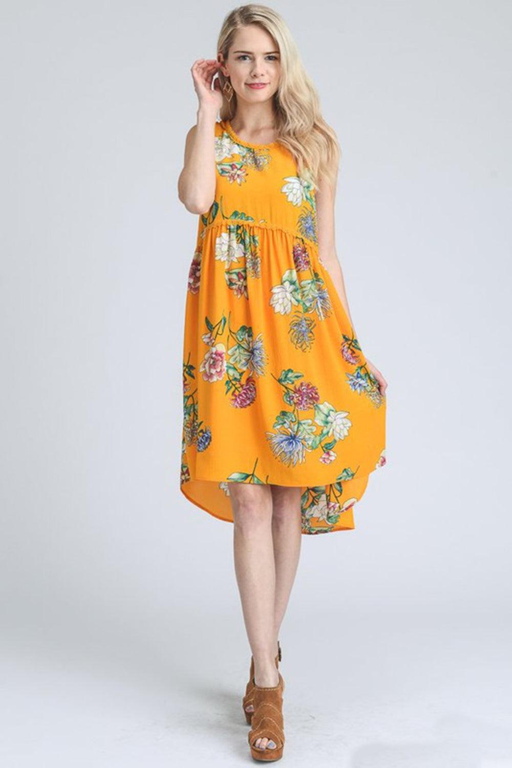 Aynara Fashion Floral Print Smocked Dress