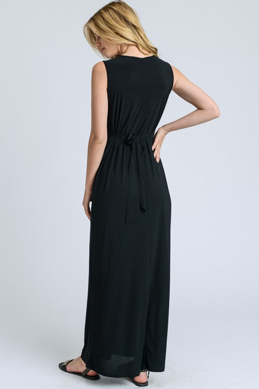 Aynara Fashion Solid V-Neck Maxi Dress