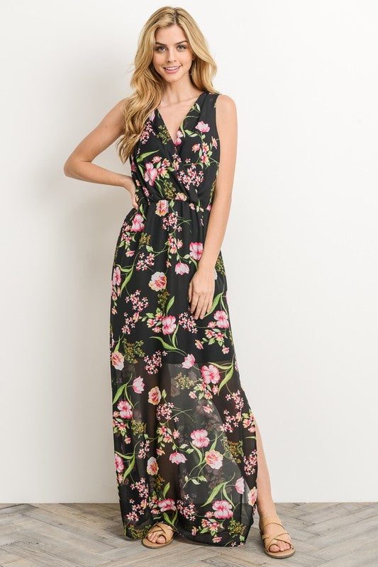 Aynara Fashion Chiffon Floral Elastic Waist Maxi Dress
