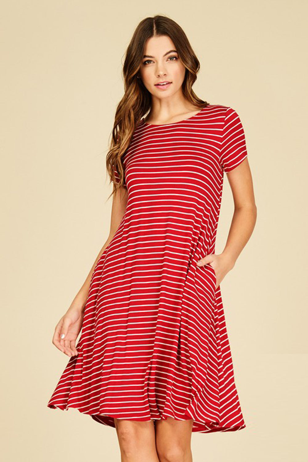 Aynara Fashion Stripe Print Short Sleeve Dress