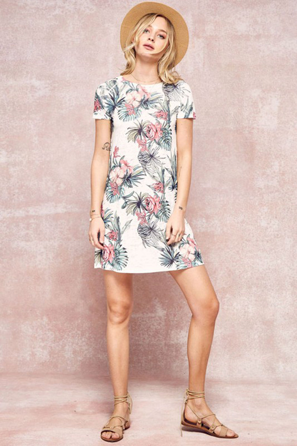 Aynara Fashion Tropical and Floral Print Mini Dress