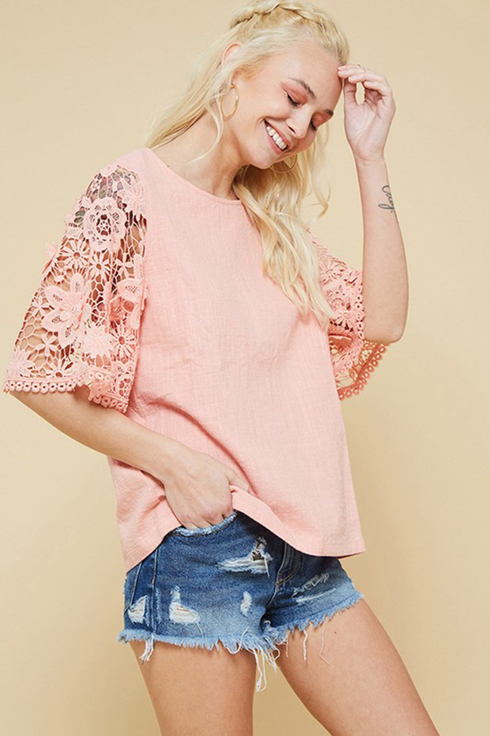 Aynara Fashion Floral Lace Wide Sleeve Top