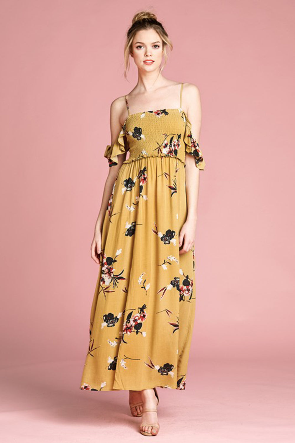 Aynara Fashion Smocked Top Cold-Shoulder Floral Maxi Dress