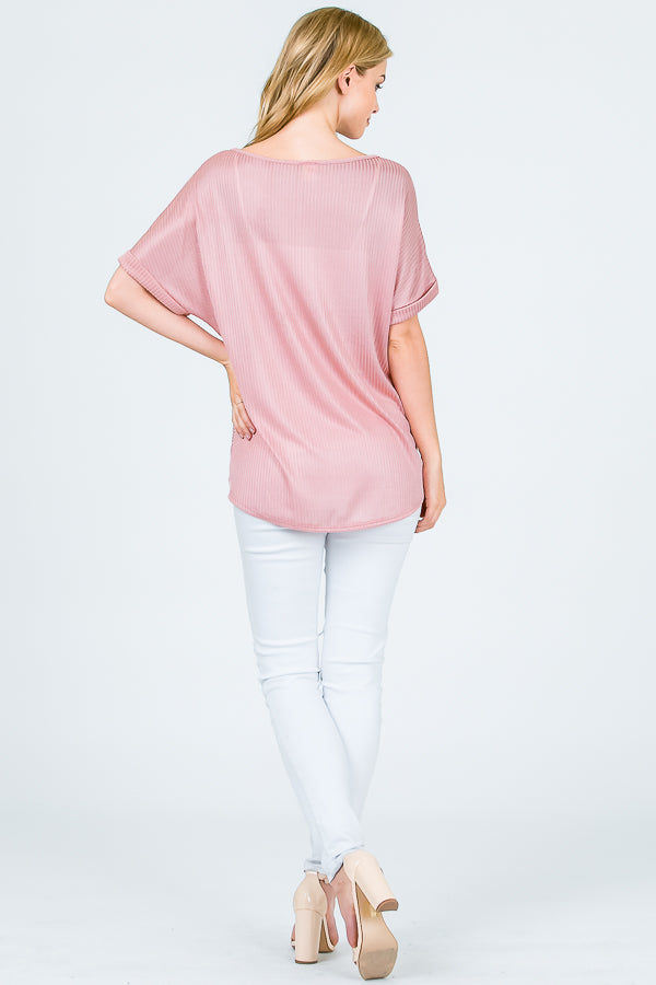 Aynara Fashion Twist Front Ribbed Top