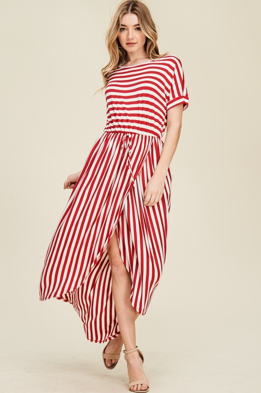 Aynara Fashion Stripe Pleated Wrap Resort Maxi Dress