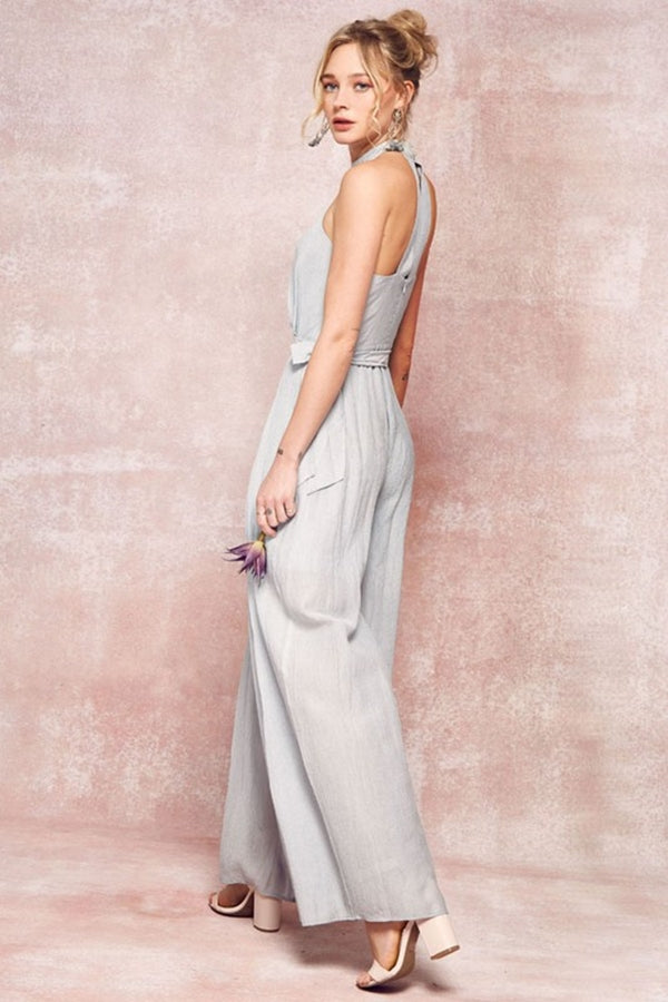 Aynara Fashion Halter Neck Jumpsuit with Wide Leg