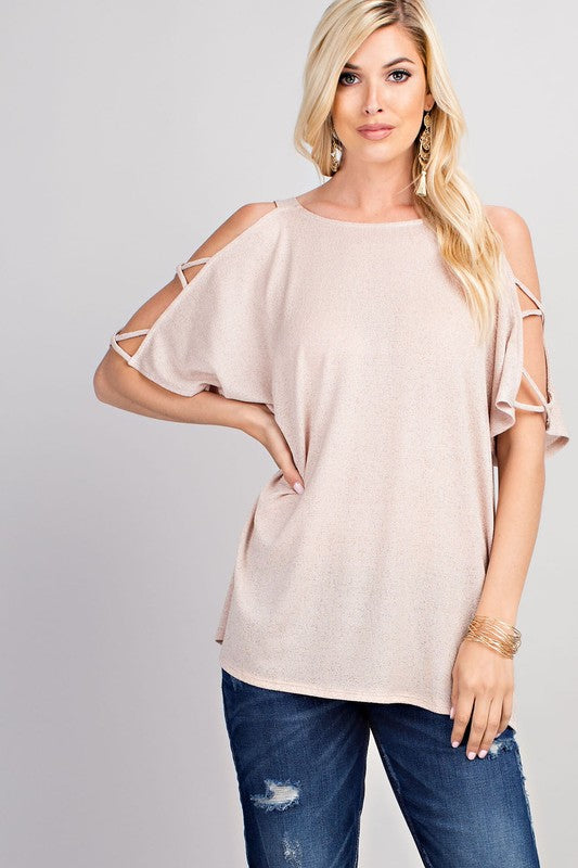 Aynara Fashion Shoulder Cutout Detail Knit Top