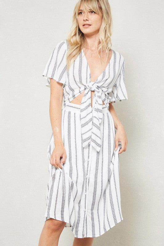 Aynara Fashion Knotted Front Striped Dress