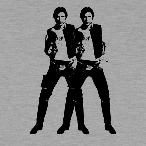 Double Solo - Men's Raglan Shirt - Warhol Star Wars Parody 3/4 Sleeve Baseball Tee