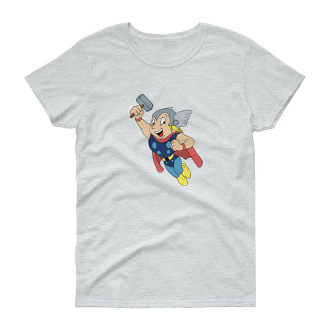 Mighty Thor - Women's Tee Shirt - Mighty Mouse Marvel Parody Graphic T-Shirt