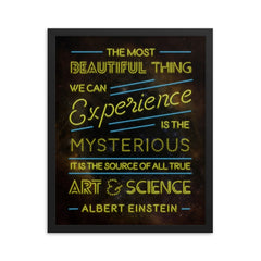The Most Beautiful Thing - Art Print - Einstein Quote Typography