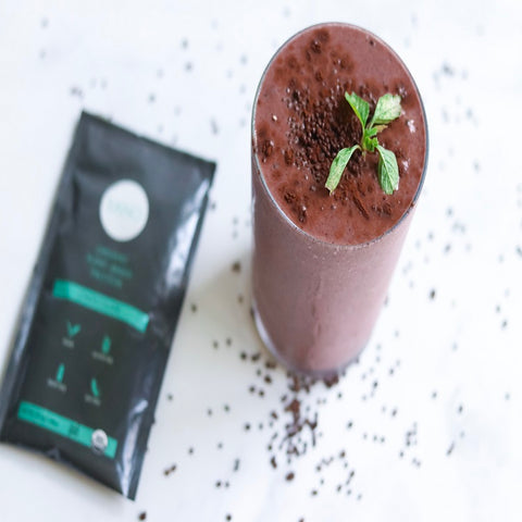 Dark Chocolate Peppermint Protein Smoothie