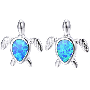 925 Sterling Silver Turtle Water Drop Blue/White Fire Opal Ear Studs - FREE SHIPPING