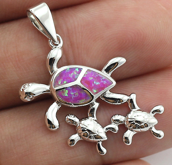 Lovely Sea Turtle Pink Fire Opal Stone Pedant - FREE SHIPPING