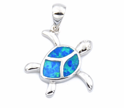 Ocean Blue Opal Sea Turtle Necklace - FREE SHIPPING