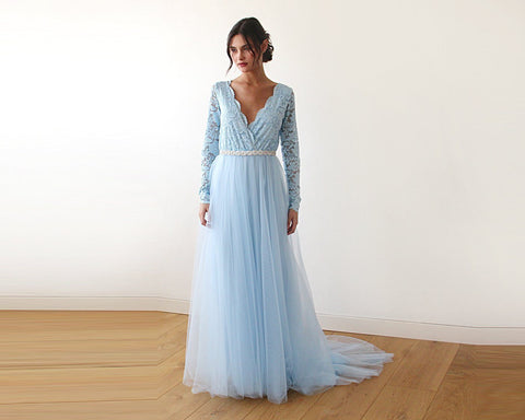 Light Blue Tulle & Lace Train Wedding Gown