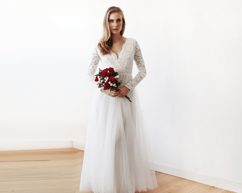 Ivory Tulle and Lace Long Sleeve