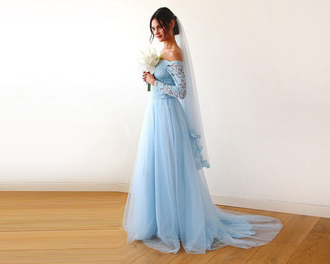 Light blue Lace & Tulle Train Wedding Gown