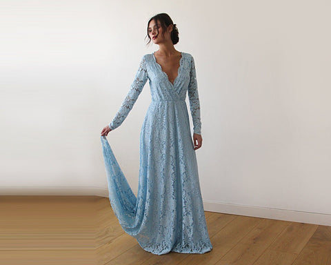 Light Blue  Wrap Floral Lace Long Sleeve