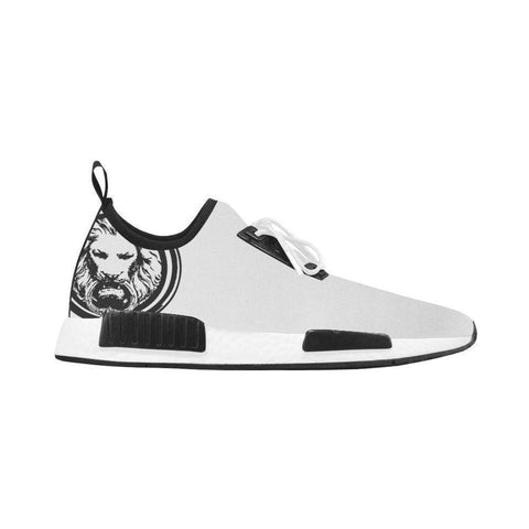 Running Style  White Trainer Shoe with Black Lion