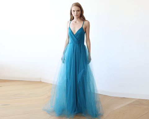 Teal Blue Straps Tulle Gown