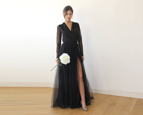 Black Wrap Tulle Gown