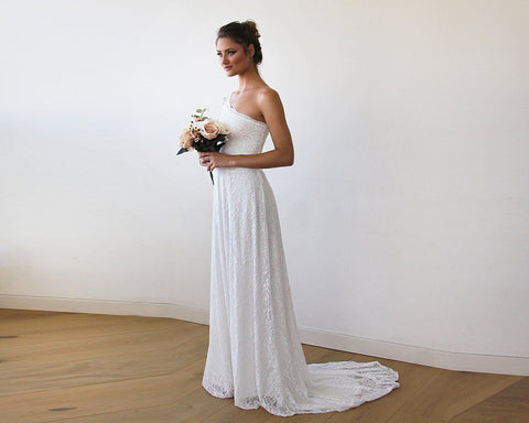 One Shoulder Floral Lace Gown with Long Train