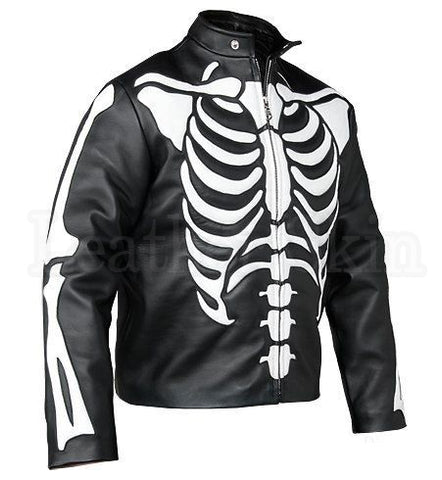 Men Black Skeleton Biker Leather Jacket