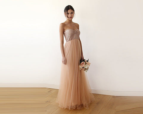 Pink Sequin Strapless Tulle Gown