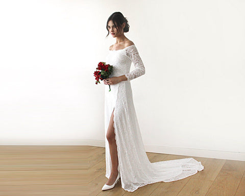 Ivory Floral Lace with a Slit and Long Train