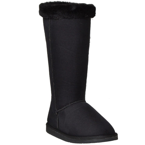 Womens Mid Calf Boots Fur Cuff Trimming Casual Pull on Shoes black