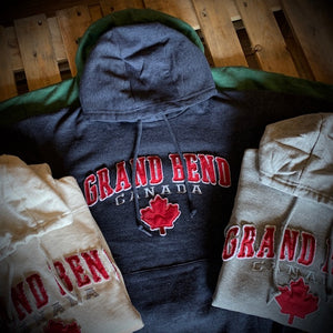 Grand Bend Souvenir Lenitive Maple Leaf Applique Pullover Hoodie