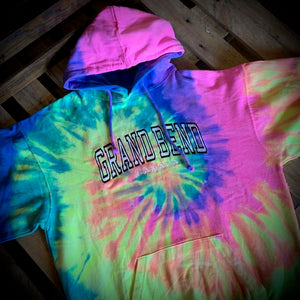 Grand Bend Souvenir Embroidered Block Tie Dye Pullover Hoodie
