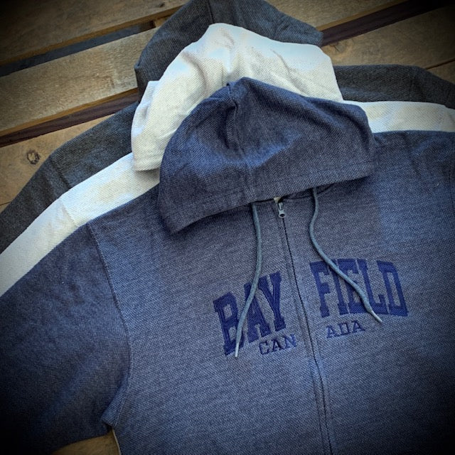 Bayfield Souvenir Block Embroidery Waffle Knit Full Zip Hoodie