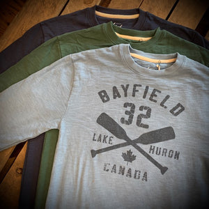 Bayfield Souvenir Crossed Oars Weathered Terry Crew Neck