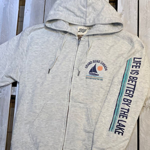 Grand Bend Souvenir Teshar Sailboat Ladies Full Zip Hoodie