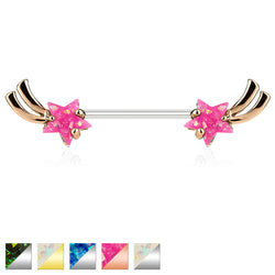 Shooting Star with Opal Glitter Set 316L Surgical Steel Nipple Barbells
