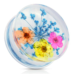 Blue Dried Flower Clear Acrylic Saddle Fit Plug