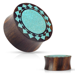 Crushed Turquoise Tribal Sunburst Inlaid Organic Sono Wood Double Flared Saddle Plugs