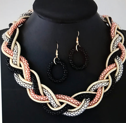 (J)- Mixed Color Braided Necklace