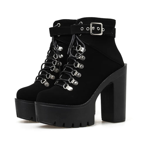 Gothic Suede Single Buckle Strap Lace Up Platform Boots