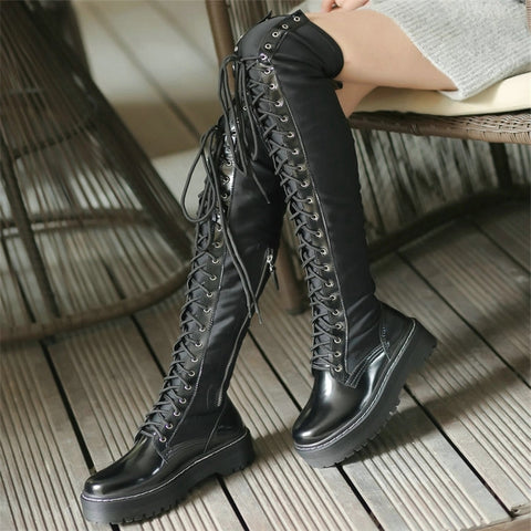 Gothic Punk Over The Knee Thigh High Lace Up Boots