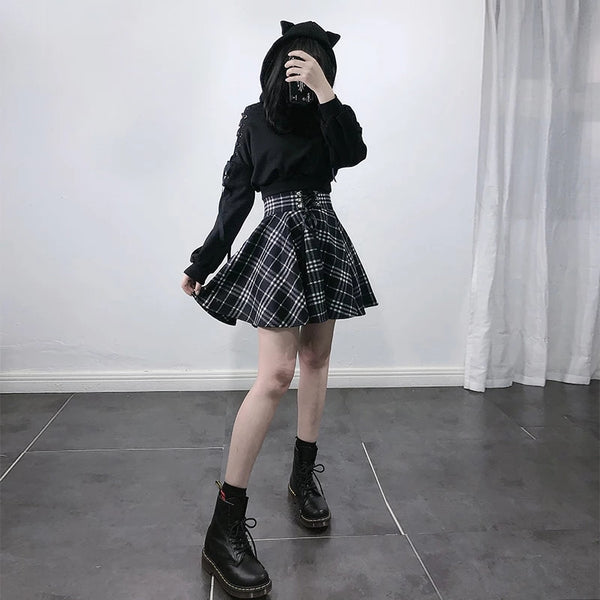Gothic Harajuku Black White Lace Up Plaid Mini Skirt