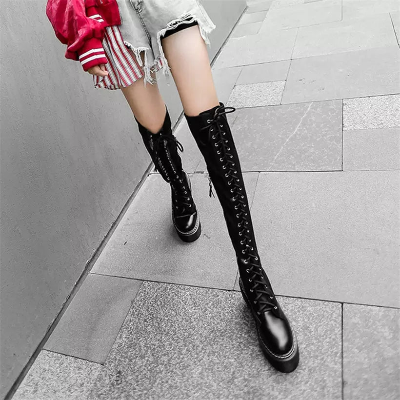 fb2d6caaa6b Gothic Punk Over The Knee Thigh High Lace Up Boots