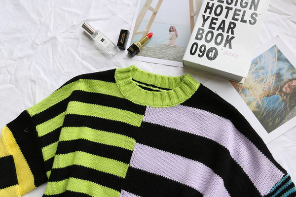 Gothic Multicolor Striped Sweater Pullover Top