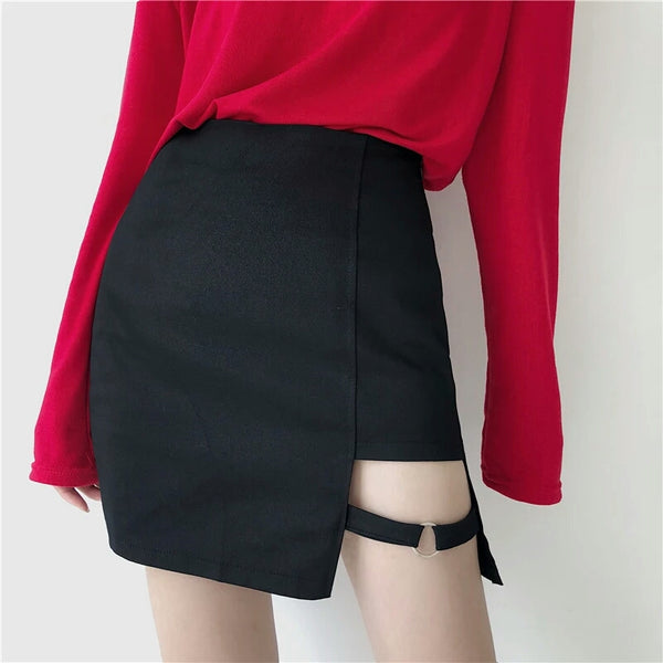 Gothic Bondage Pencil Cut High Waist Mini Skirt